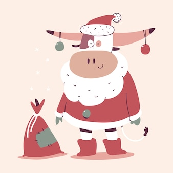 Cute christmas bull in santa claus costume and sack with gifts cartoon character