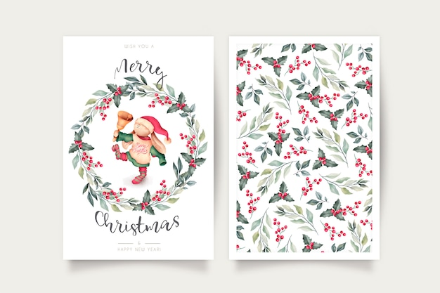 Cute christmas card template with lovely character