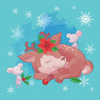 Cute christmas card with cartoon deer and a bouquet of poinsettia