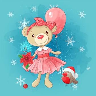Cute christmas card with cartoon teddy bear girl and poinsettia.