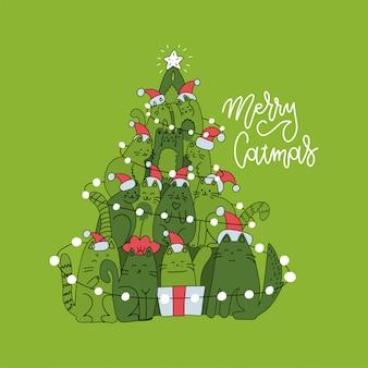 猫で作られたクリスマスツリーのかわいいクリスマスカード。線形挨拶テキストメリークリスマスをレタリングと緑の正方形のグリーティングカード。