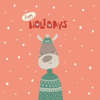 Cute christmas card with deep in sweater and hat in flat style
