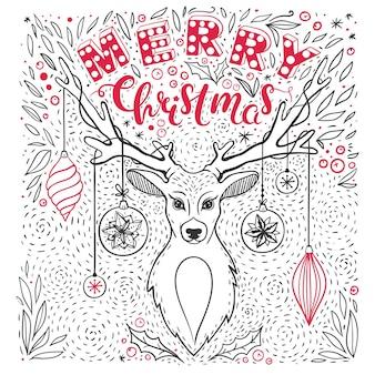 사슴과 손으로 그린 글자 벡터 메리 크리스마스 카드와 함께 귀여운 크리스마스 카드