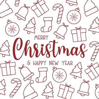 Симпатичная рождественская открытка с плоскими рождественскими иконами