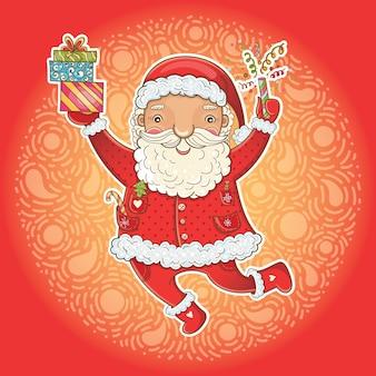 Милая рождественская открытка с забавным счастливым санта-клаусом
