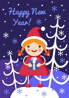Cute christmas card with lovely character snow and spruces