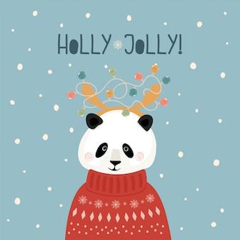 Милая новогодняя открытка с пандой в свитере с рогами и гирляндой в плоском стиле