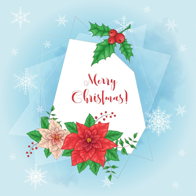 Cute christmas card with poinsettia wreath and place for text.