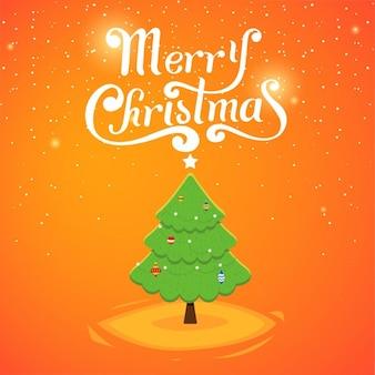 나무와 귀여운 크리스마스 카드