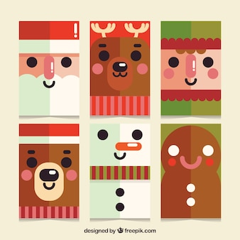 Cute christmas cards with flat design