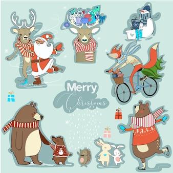 かわいいクリスマスの漫画のキャラクターコレクション
