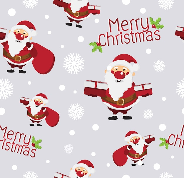 Cute christmas cartoon seamless pattern