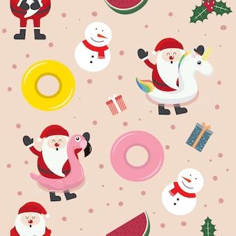Cute christmas cartoon seamless pattern