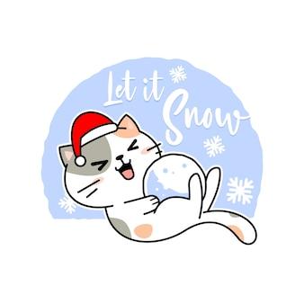 눈덩이와 모자 귀여운 크리스마스 고양이 만화