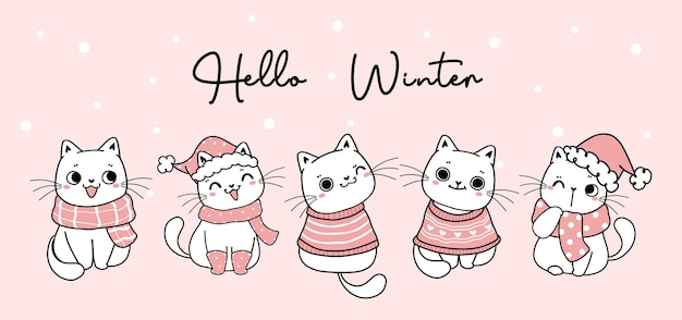 Cute christmas cat hello winter in winter clothes cartoon drawing banner, christmas and new year banner