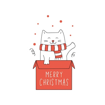 Милый рождественский кот в подарочной коробке.