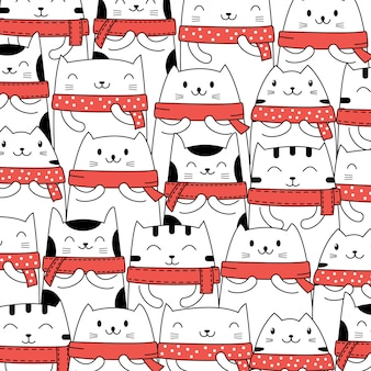 Cute christmas cat pattern