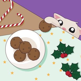 かわいいクリスマス猫