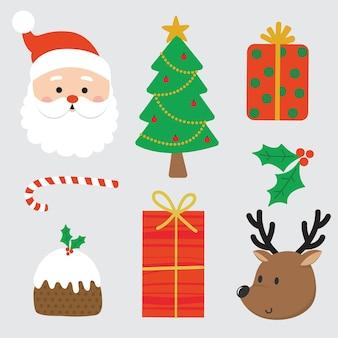 귀여운 크리스마스 캐릭터와 장식
