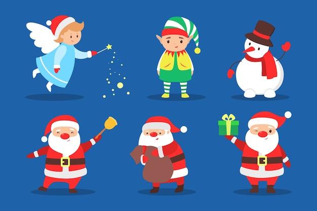 休日セットを祝うかわいいクリスマスキャラクター。サンタクロースと雪だるま、エルフと妖精。クリスマスのお祝い。図