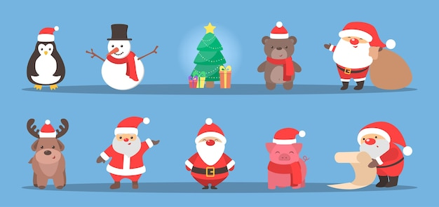 Cute christmas character celebrating a holiday set. santa claus and reindeer, snowman and pig. xmas celebration. flat vector illustration