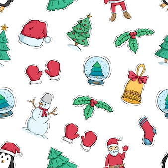 Cute christmas character and decoration in seamless pattern with doodle style