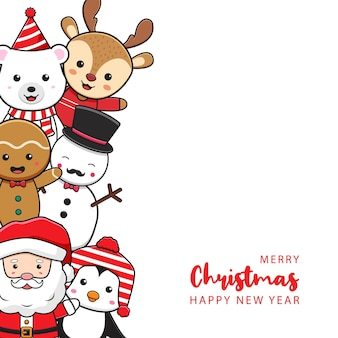 Cute christmas character greeting merry christmas and happy new year cartoon doodle card background
