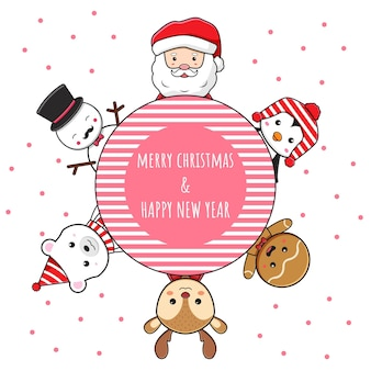 Cute christmas character greeting merry christmas happy new year cartoon doodle card background