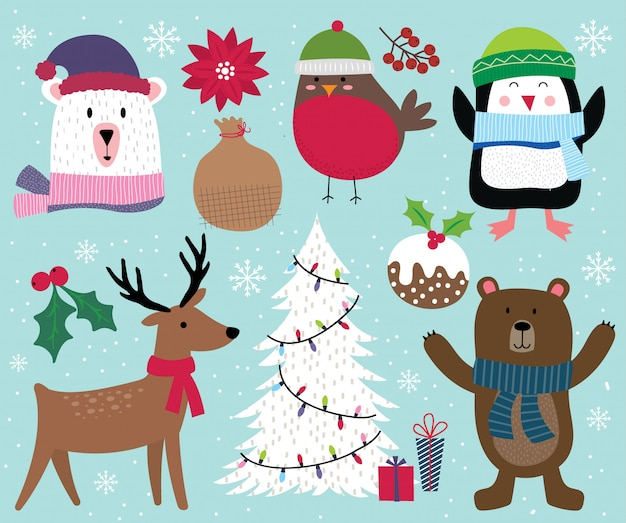 Cute christmas character, reindeer, tree, penguin, bear, robin and christmas ornament decoration