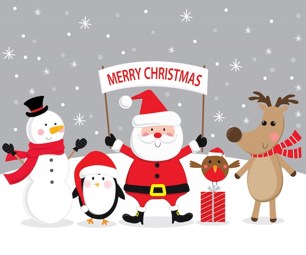 Cute christmas character, santa claus, reindeer, snowman, penguin and litter robin in snowing