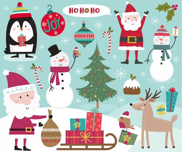 Cute christmas character, santa claus, snowman, penguin, robin and christmas ornament decoration