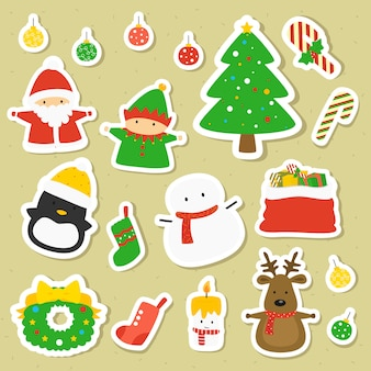 Cute christmas character stickers vector collection