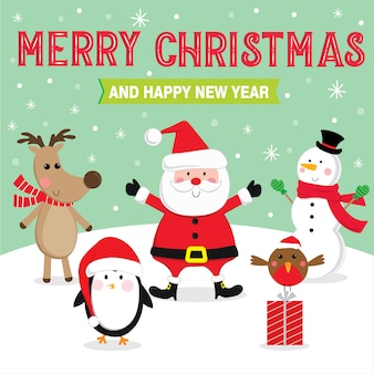 Милый рождественский персонаж с текстом с новым годом и рождеством