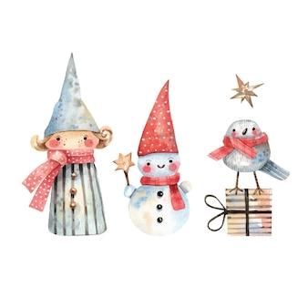 水彩のエルフの雪だるまと冬の鳥で手描きのかわいいクリスマスのキャラクター