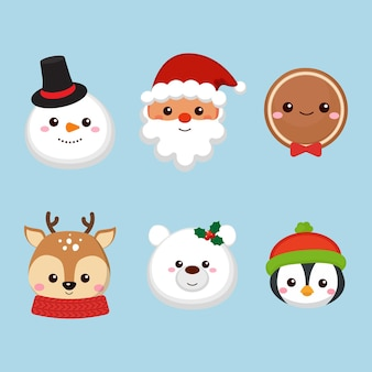 Cute christmas characters head collection
