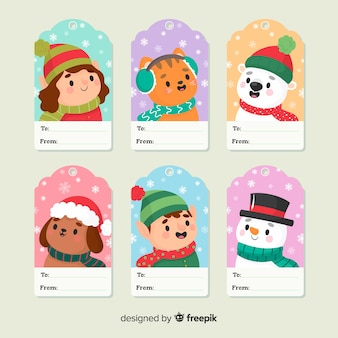 Cute christmas characters label set