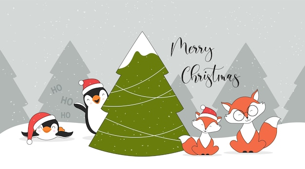 Cute christmas characters penguins foxes and christmas tree