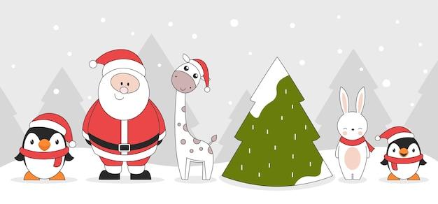 Cute christmas characters penguins santa claus giraffe rabbit and christmas tree