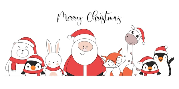 Cute christmas characters penguins santa claus giraffe rabbit polar bear and fox