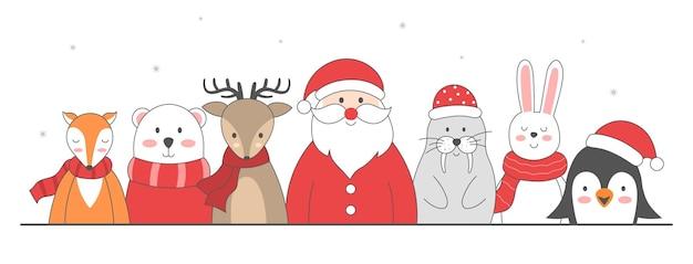 Cute christmas characters penguins santa claus giraffe rabbit polar deer bear and fox