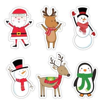 귀여운 크리스마스 캐릭터, 스티커 세트