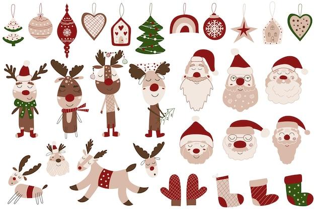 귀여운 크리스마스 클립아트는 장신구, 산타클로스, 순록으로 장식되어 있습니다. 벡터 일러스트 레이 션.