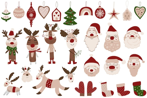 Cute christmas clipart set with ornaments, santa clauses and reindeer. vector illustration.