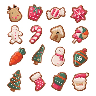 Cute christmas cookies cartoon style collection