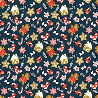 Cute christmas cookies seamless pattern.