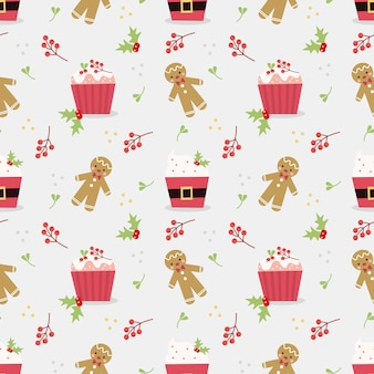 Cute christmas cupcake seamless pattern