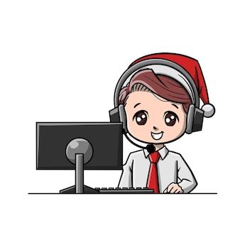 귀여운 크리스마스 고객 지원 만화