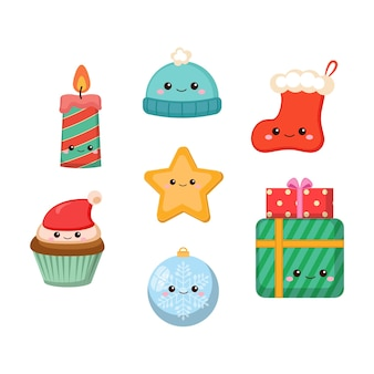 Cute christmas decoration objects collection