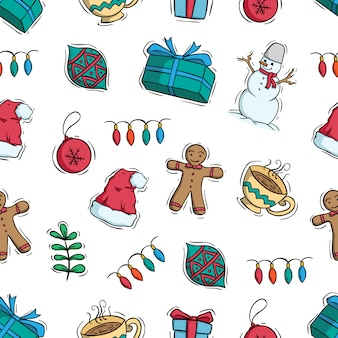 Cute christmas decoration in seamless pattern on white background