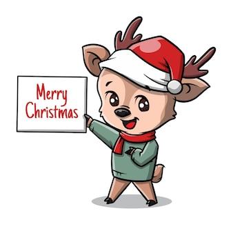 Милый мультфильм рождественский олень
